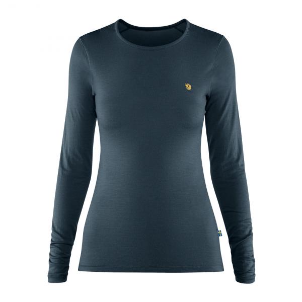 Fjallraven Womens Bergtagen Thinwool LS Base Layer T-Shirt Mountain Blue
