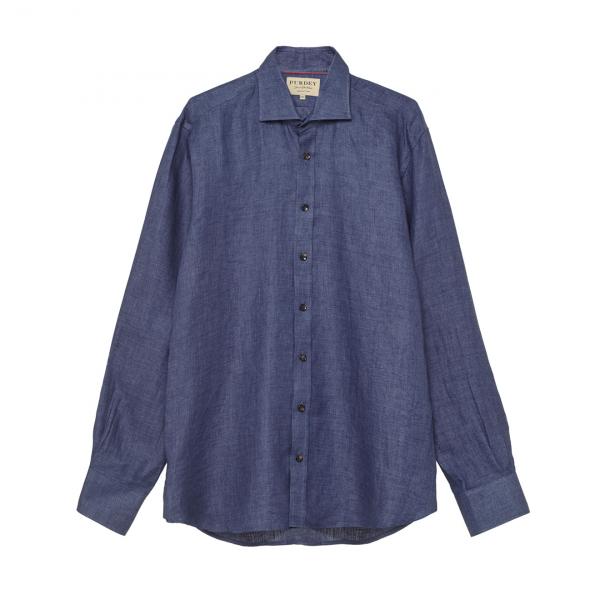 James Purdey Brushed Linen Twill Shirt Indigo Blue