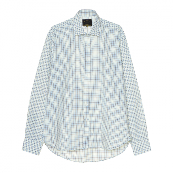 James Purdey Classic Tattersall Shirt Pale Blue