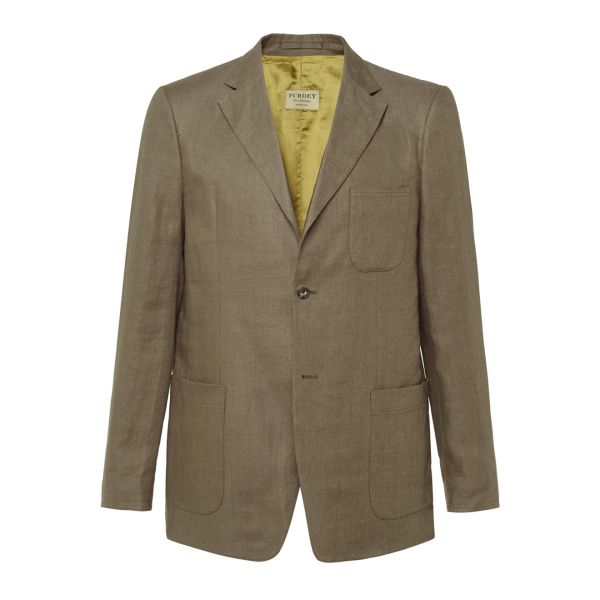 James Purdey Fleming Linen Jacket Dark Olive