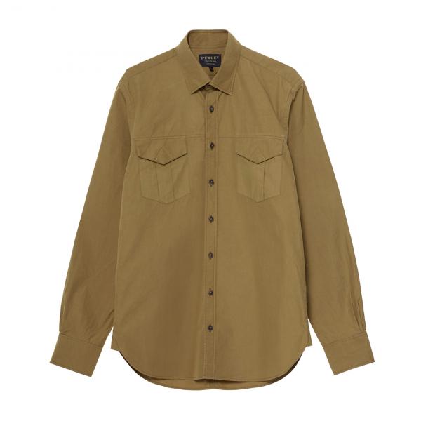 James Purdey Lightweight Safari Shirt Desert Khaki