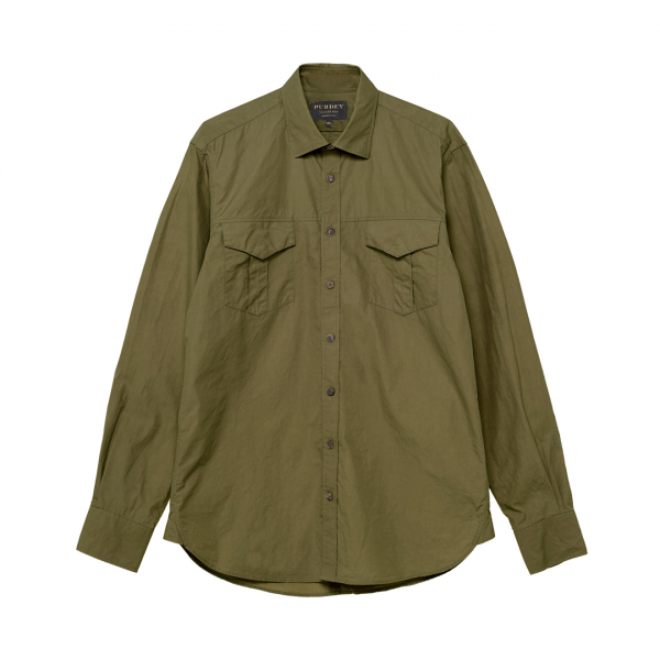 James Purdey Lightweight Safari Shirt Safari Green