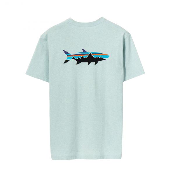 Patagonia Fitz Roy Saltwater Organic T-Shirt Big Sky Blue w/Fitz Roy Tarpon