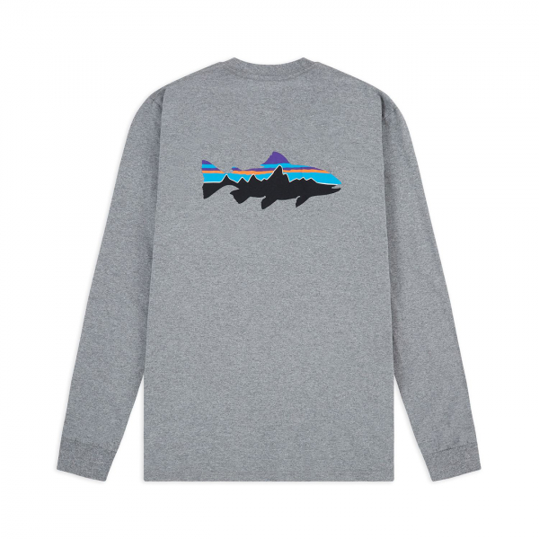 Patagonia Long Sleeved Fitz Roy Trout Responsibili-Tee Gravel Heather