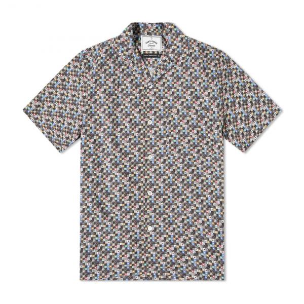 Portuguese Flannel Vintage Tetris SS Shirt Navy / Grey
