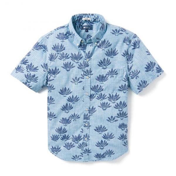 Reyn Spooner Falling Fan Flowers Tailored Buttonfront Shirt Niagara Blue