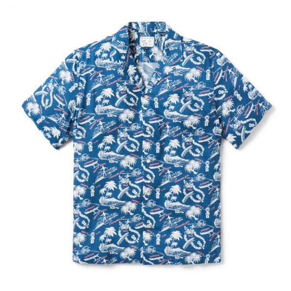 Reyn Spooner Okole Maluna Rayon Camp Shirt Dark Blue