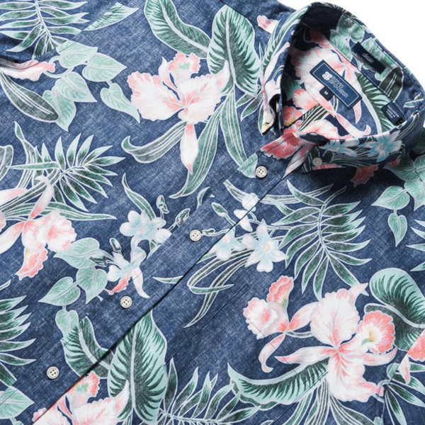 Reyn Spooner Orchid Bloom Tailored Buttonfront Shirt Dress Blue
