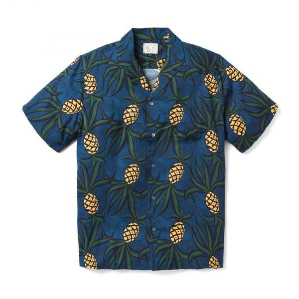 Reyn Spooner Whacky Pineapple Camp Shirt Dress Blue