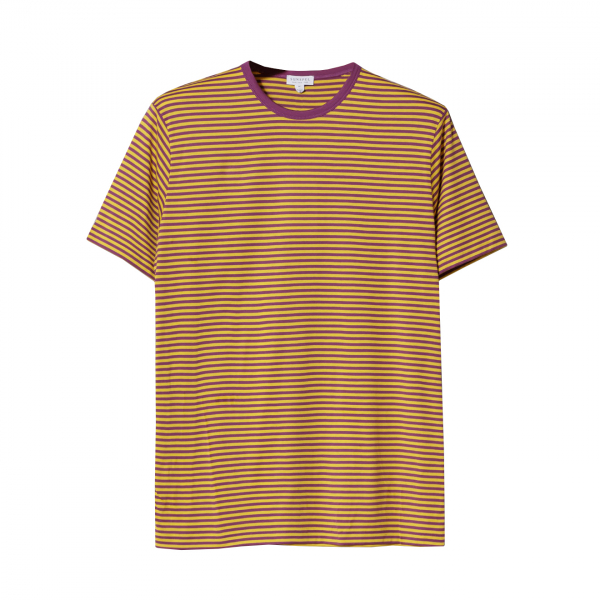 Sunspel Classic Crew T-Shirt Booth Purple / Booth Ochre English Stripe