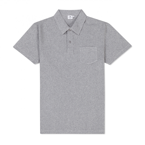 Sunspel Riviera Polo Shirt Grey Melange