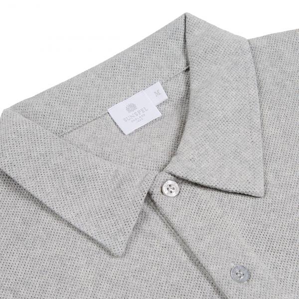 Sunspel Riviera Polo Shirt Grey Melange