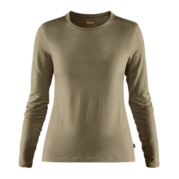 Fjallraven Womens Abisko Wool LS Base Layer T-Shirt Light Olive