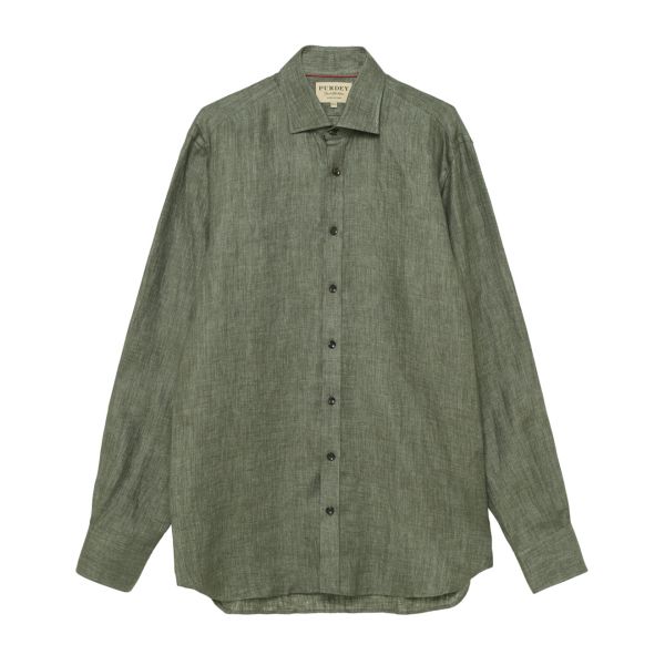 James Purdey Brushed Linen Twill Shirt Dusky Green
