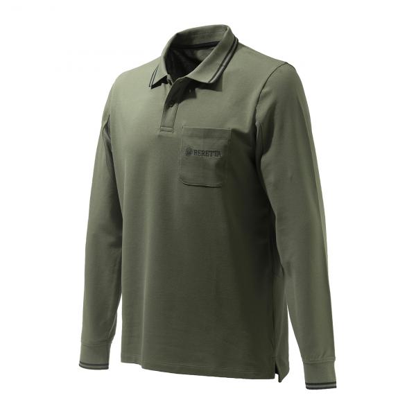 Beretta Airmesh L/S Polo Shirt Green