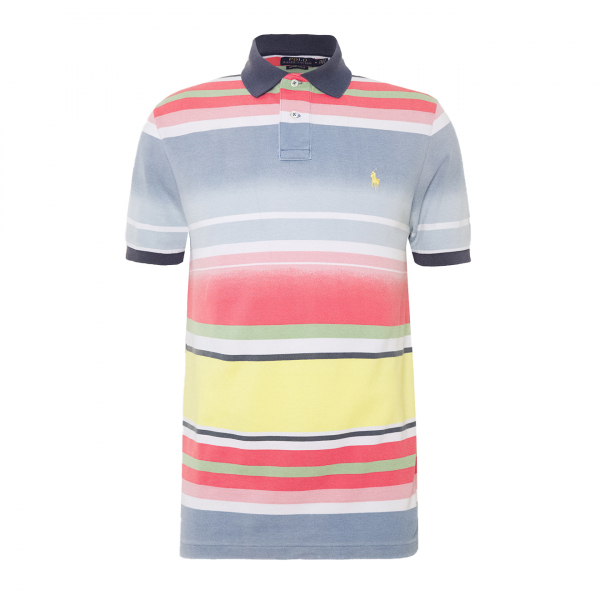 Polo Ralph Lauren Custom Fit Multi Stripe Polo Shirt French Blue Multi