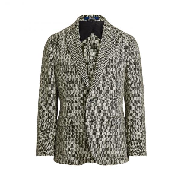Polo Ralph Lauren Herringbone Tailored Sports Jacket Black / Cream