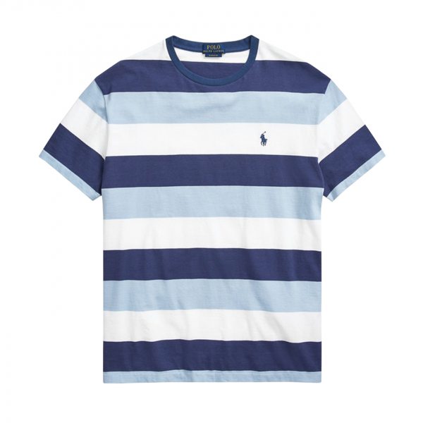 Polo Ralph Lauren Tri Stripe Custom Slim Fit Crewneck T-Shirt Blue / White / Sky