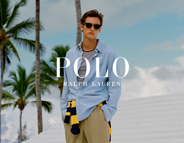 Man Wearing Classic Polo Ralph Lauren Shirt with Striped T-Shirt and Beige Chinos
