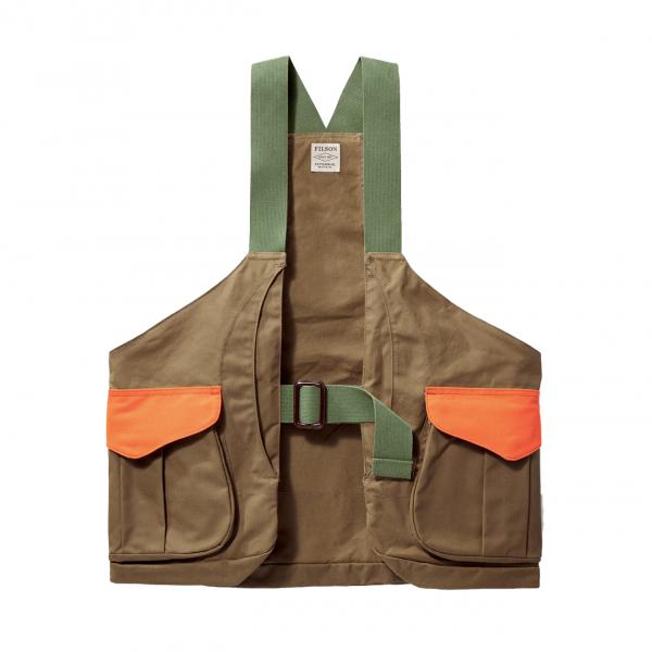 Filson Shelter Cloth Strap Vest Dark Tan Blaze Orange