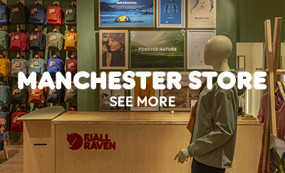 The Counter Inside the Manchester Fjallraven Store, ,male manikin, and Kanken Bags on Display.