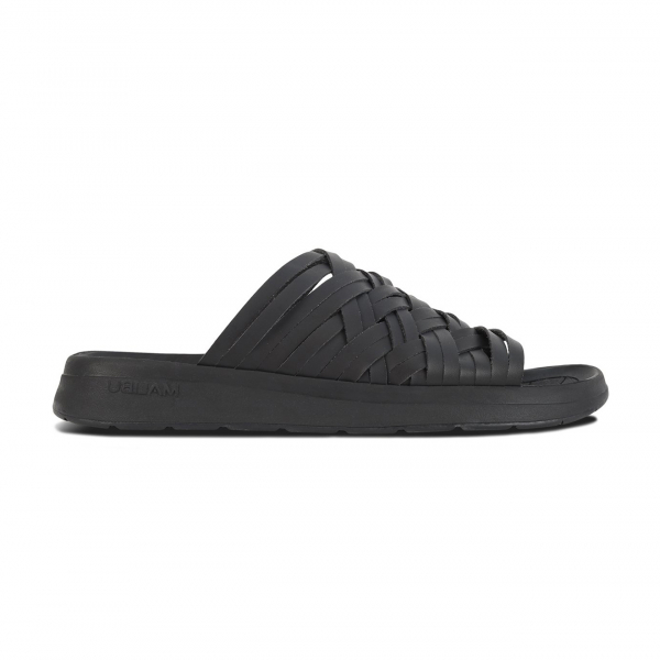 Malibu Sandals Womens Zuma Slide Faux Leather Black / Black