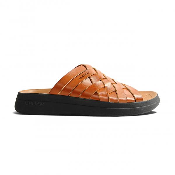 Malibu Sandals Womens Zuma Slide Vegan Leather Whiskey / Black