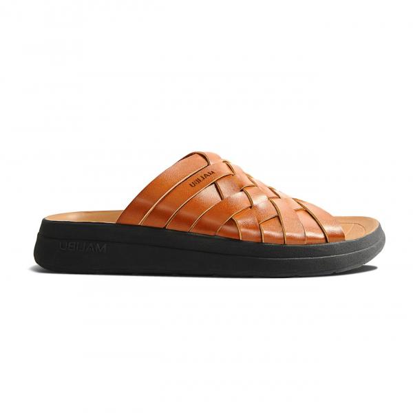 Malibu Sandals Zuma Slide Vegan Leather Whiskey / Black