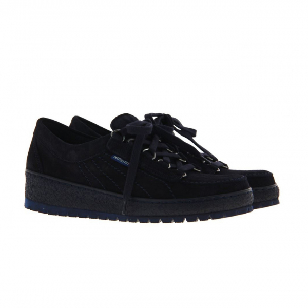 Mephisto Womens Lady Velour Shoe Navy Blue