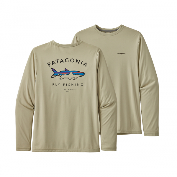 Patagonia Long Sleeve Capilene Cool Daily Fish Graphic T-Shirt Framed Fitz Roy Tarpon Brush Green