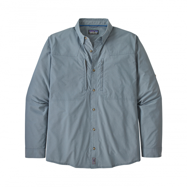 Patagonia Long Sleeve Sun Stretch Shirt Chambray Pigeon Blue