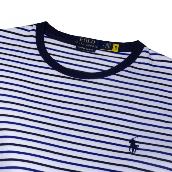 Polo Ralph Lauren Custom Slim Fit Crew Pocket Stripe T-Shirt White Multi