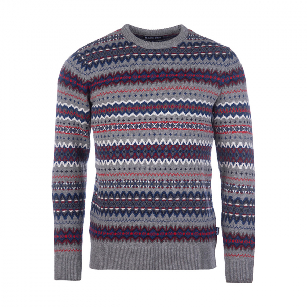 Barbour Fairisle Crew Knit Mid Grey