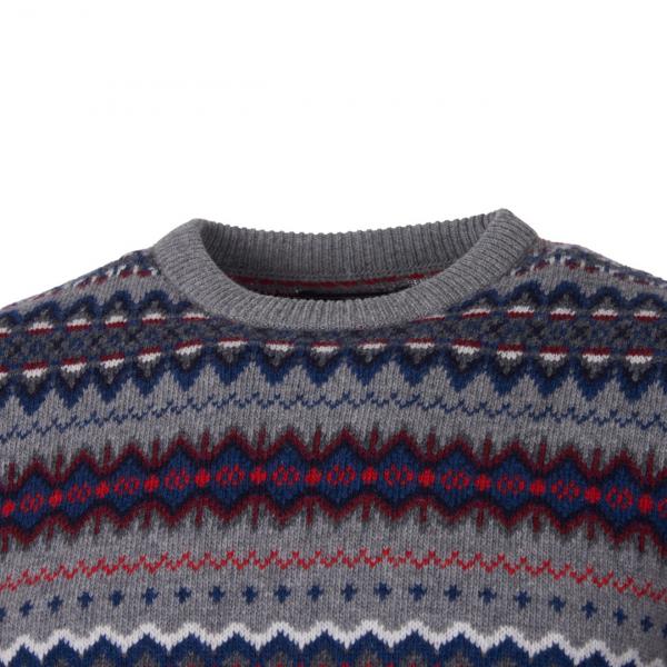 Barbour Fairisle Crew Knit Mid Grey