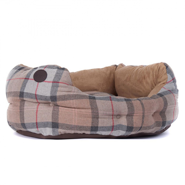 """Barbour Luxury Dog Bed 24"""" Taupe / Pink"""