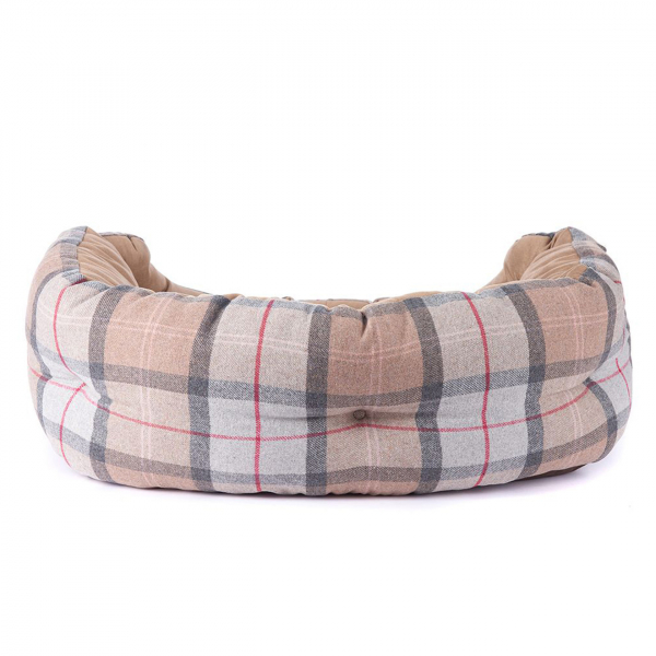 "Barbour Luxury Dog Bed 30"" Taupe / Pink"