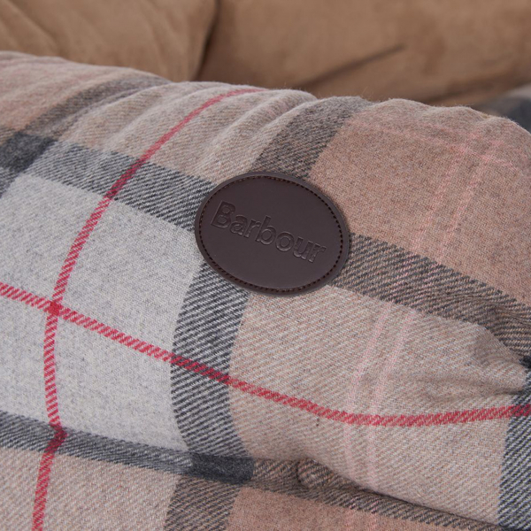 """Barbour Luxury Dog Bed 35"""" Taupe / Pink"""