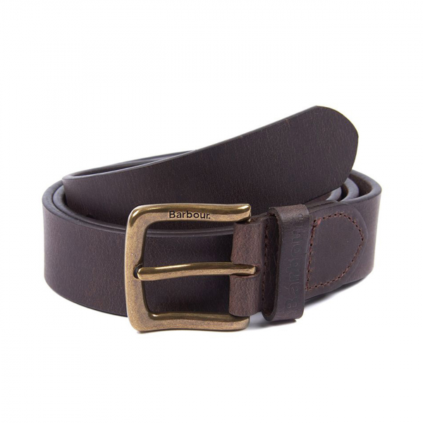 Barbour Prestbury Oakworth Leather Belt Gift Box Dark Brown