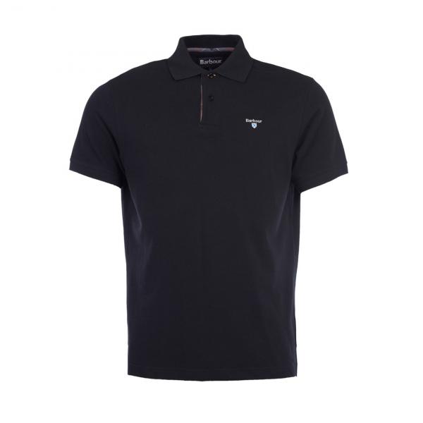 Barbour Tartan Pique Polo Shirt Black Modern