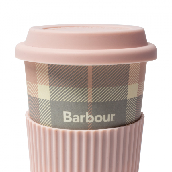 Barbour Tartan Travel Mug Pink / Grey