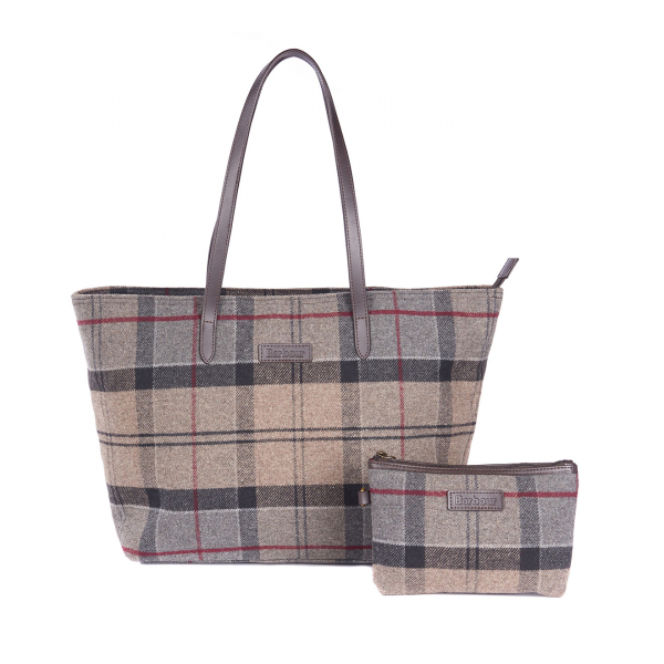 Barbour Womens Witford Tote Bag Taupe / Pink