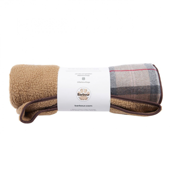 Barbour Wool Touch Blanket Taupe / Pink