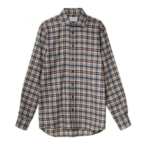 James Purdey Cotton/Wool Plaid Check L/S Shirt Aubergine