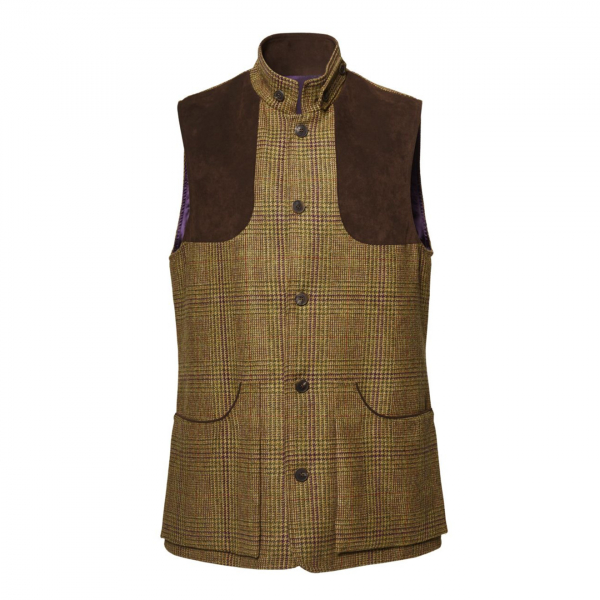 James Purdey Tweed High Collar Shooting Vest Stuart