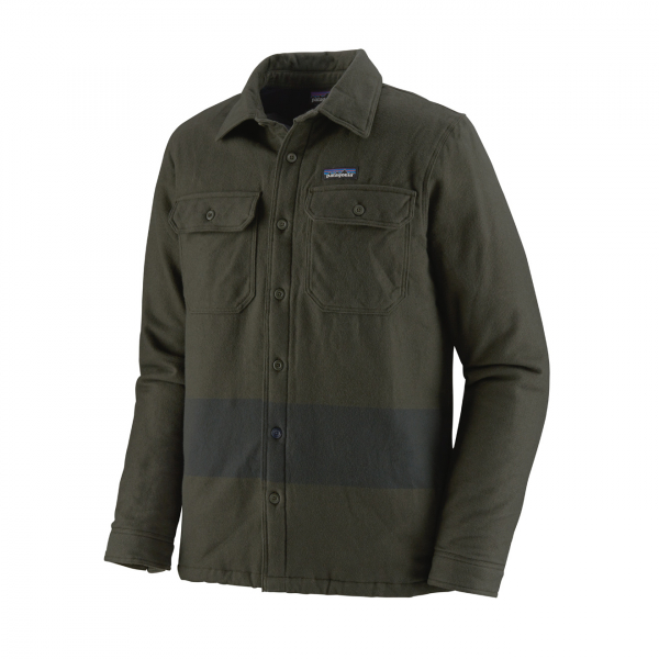 Patagonia Insulated Fjord Flannel Jacket One Stripe Basin Green