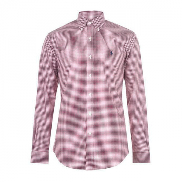 Polo Ralph Lauren Natural Stretch Poplin Shirt Burgundy / White