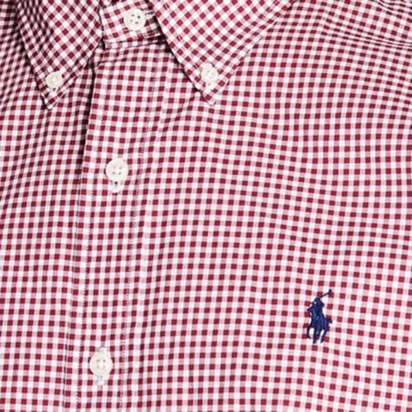 Polo Ralph Lauren Natural Stretch Poplin Shirt Burgundy / White
