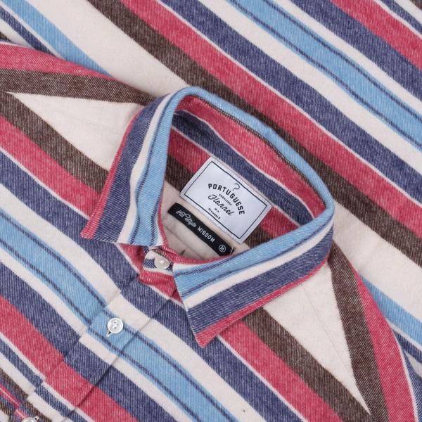 Portuguese Flannel Montauk Stripe Shirt Red/Blue/Brown
