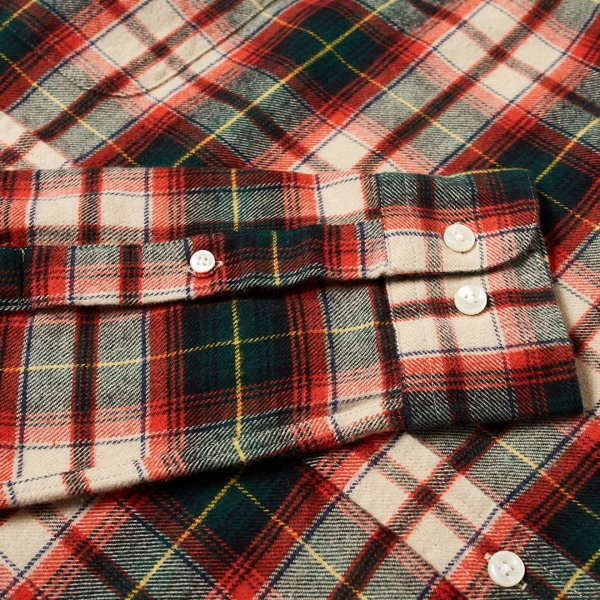 Portuguese Flannel Rustic Check Shirt BD Red/Navy/Green