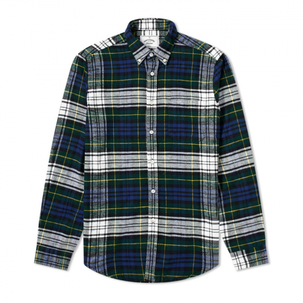Portuguese Flannel Sacremento Flannel Check Shirt BD Navy/Green/Yellow
